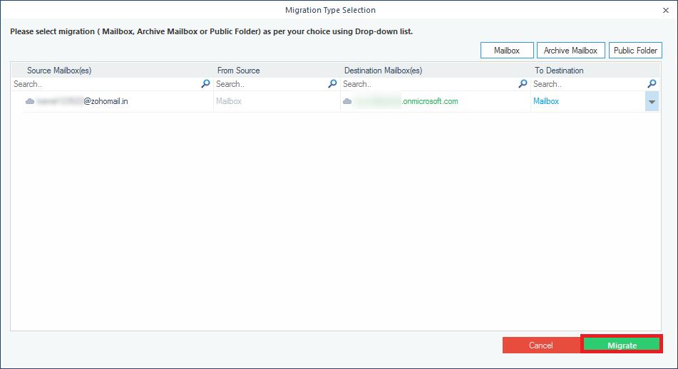 Choose the destination Office 365 account folder