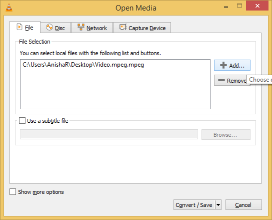 Choose the MPEG file