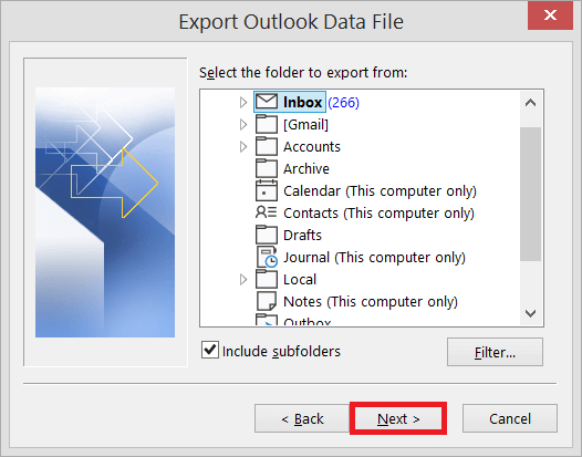 Select the folder to export