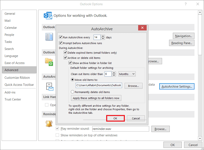 Select the folder to save the archived file