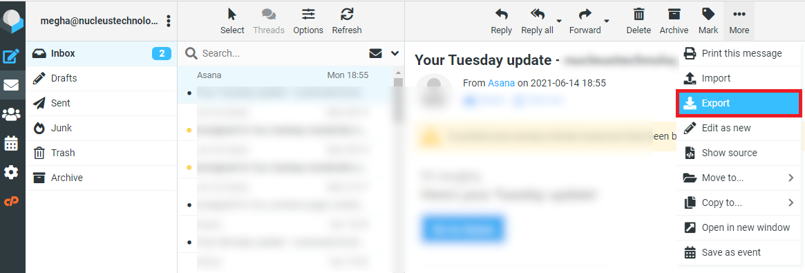 Roundcube email interface
