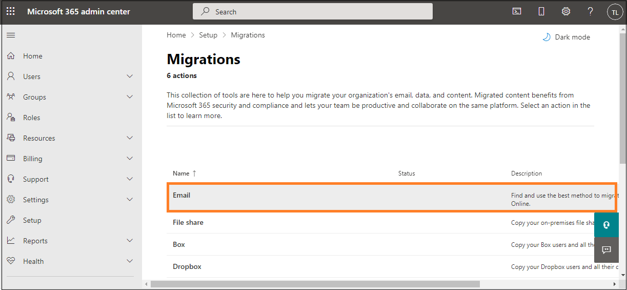 Select the migration category