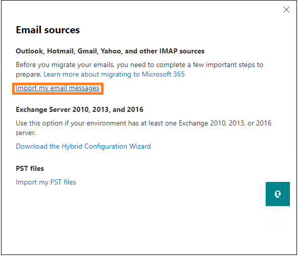 Click on Import my email messages