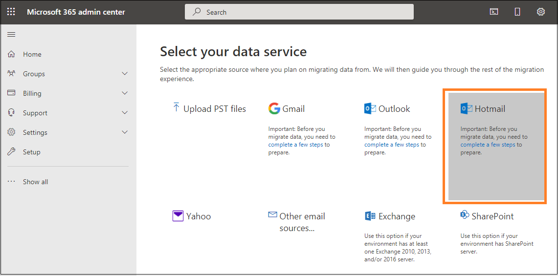 Select the data service Hotmail/Outlook.com