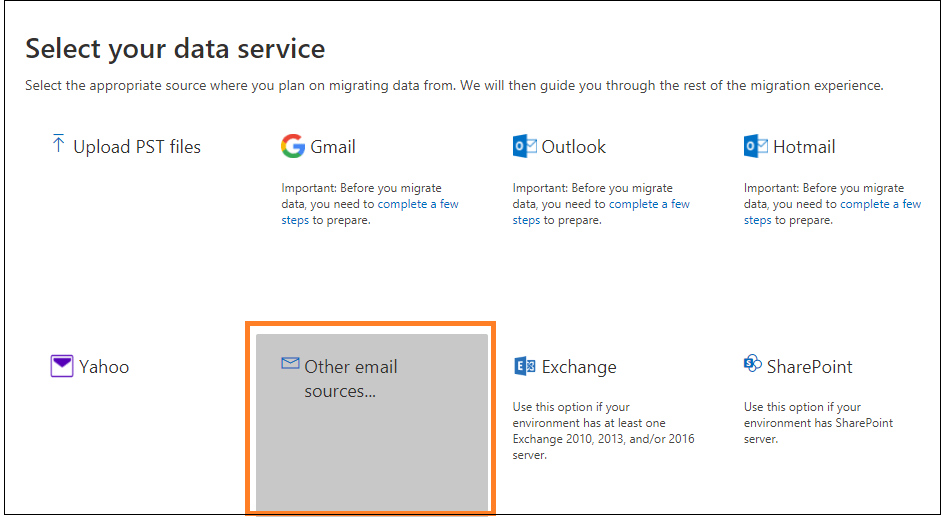 click on the Other email sources