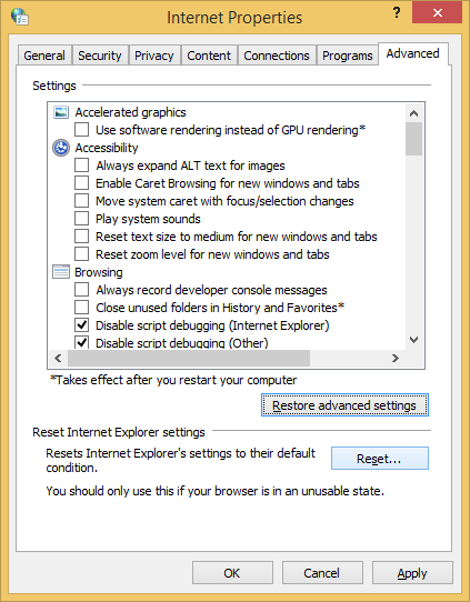 'Reset' option