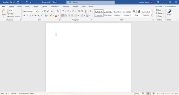 Microsoft Word application