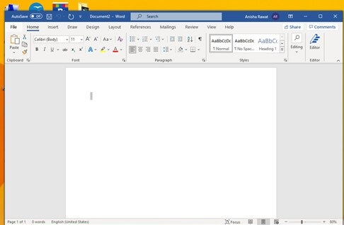 Word application and click