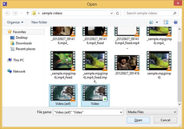 Select all the videos to repair