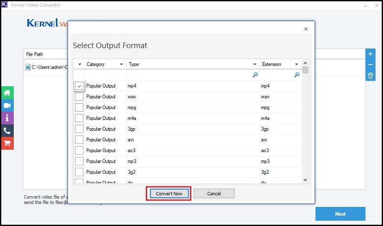 Select the output format