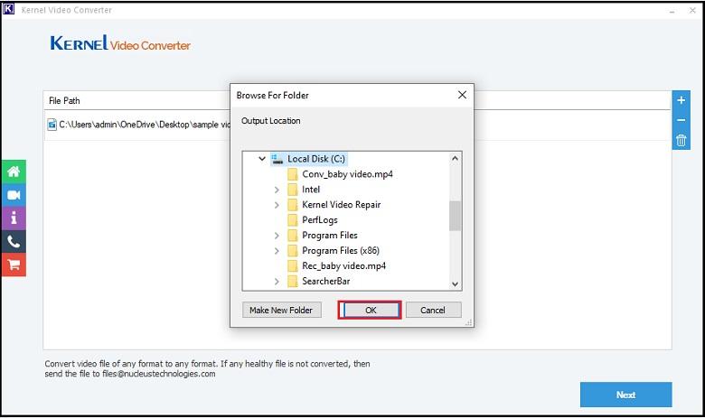 Provide the destination folder