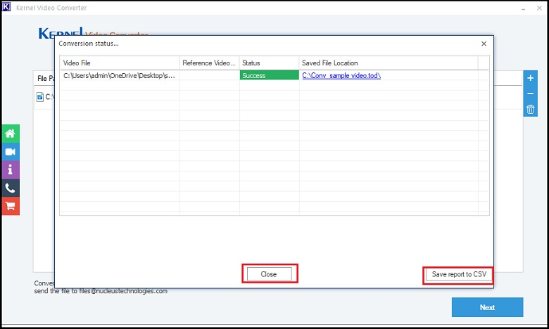 save the reports to CSV format