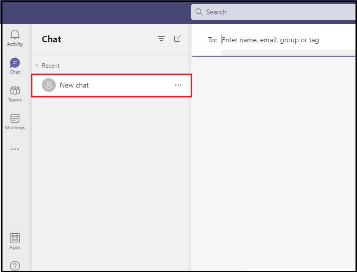 Either select a recent chat or start a new one