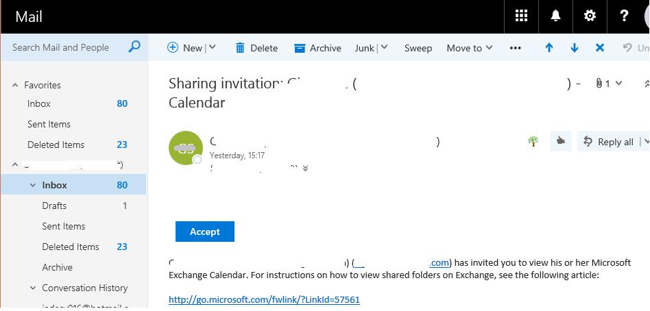 open a shared calendar in Outlook WebApp