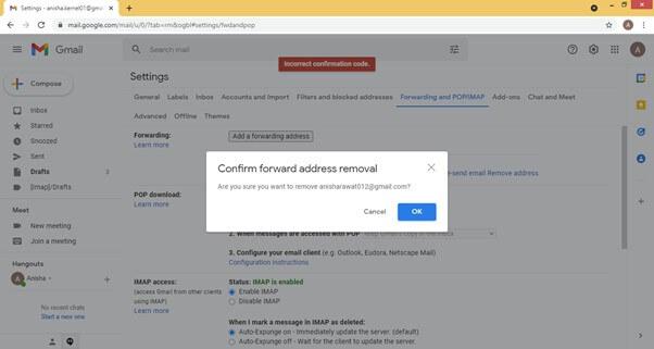 click on Remove account