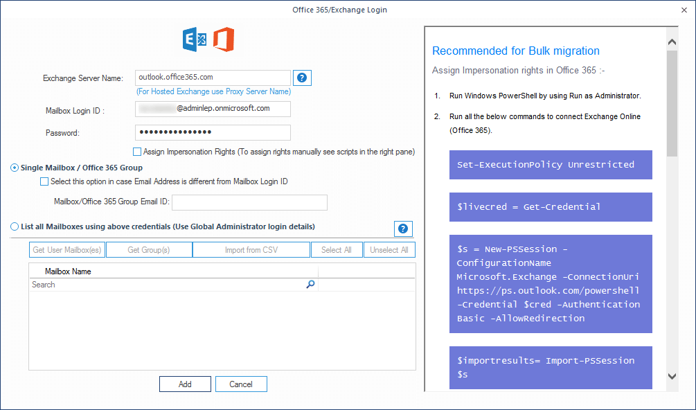 Enter credentials for the Office 365 account