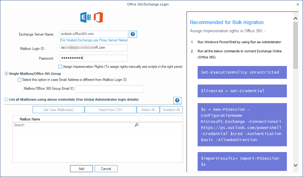 Provide the login credentials for the destination Office 365 mailbox