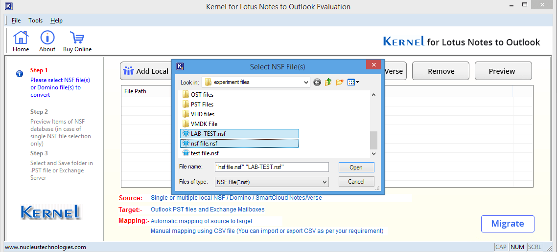 Selecting Multiple NSF files to add to the tool