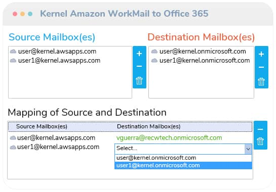 Add the source and destination mailboxes