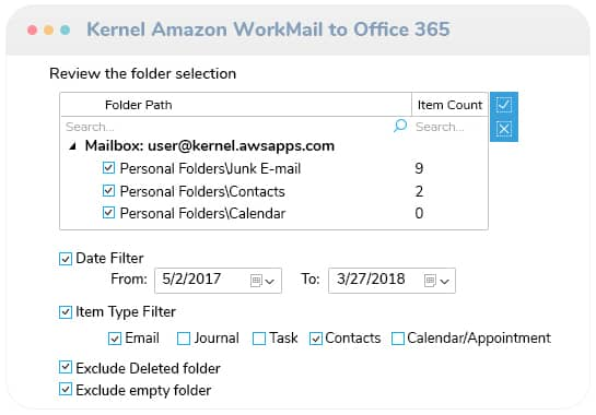 Filter the mailbox data and migrate
