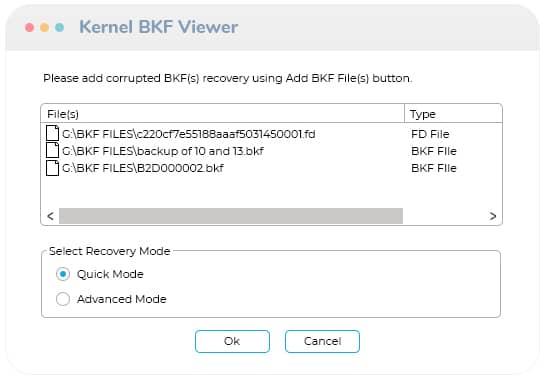 Select .bkf files