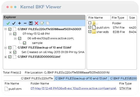 View data of the .bkf files