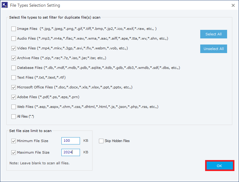 Choose the required file type and then set the minimum and maximum file size