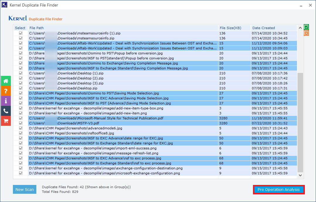Scan the folder and found the duplicate items in the specified folders