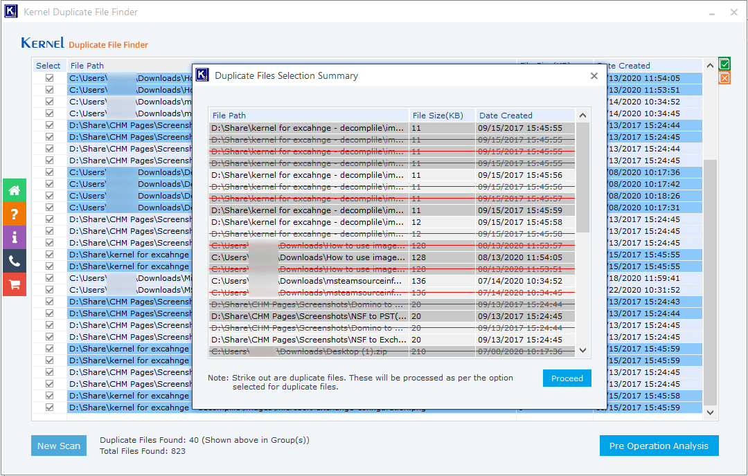 Show the files which will be affected by the selected action