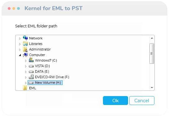 Select the EML/EMLX folder path