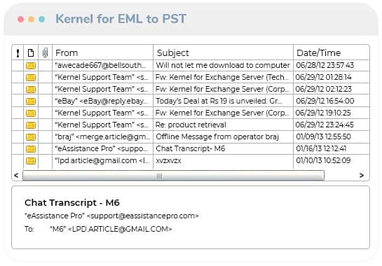 Selection of the EML/EMLX folder(s) in the Folder List