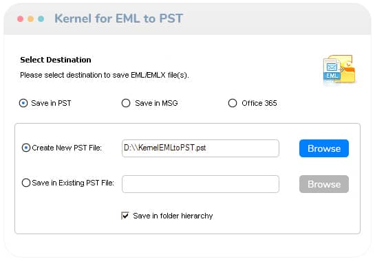 Convert only the selected EML/EMLX items to PST files