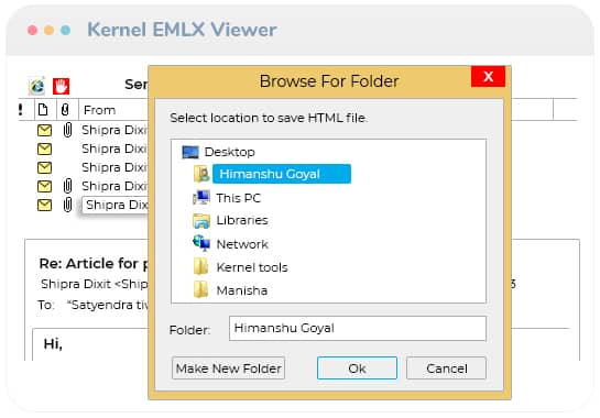 Saving EMLX email list in the HTML format