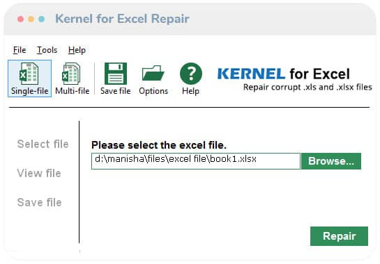Select the Corrupt Excel File