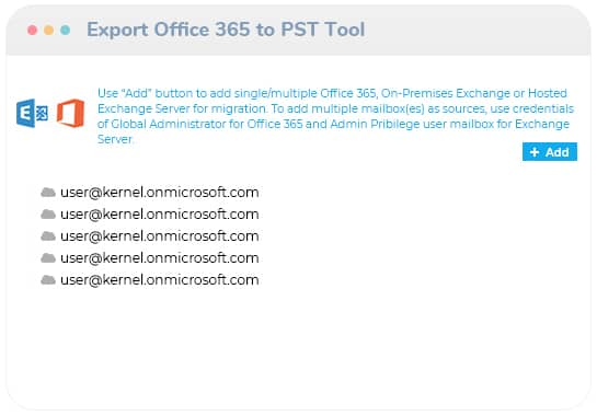 Add the Office 365/ Exchange Server as the source