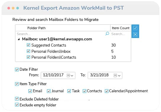 Apply the filters and start the mailbox export