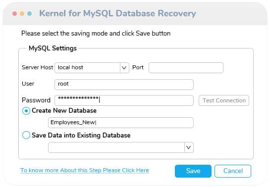 save the repaired MySQL database