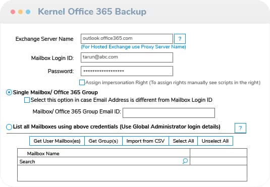 Add the Office 365/Exchange Server Account for Backup