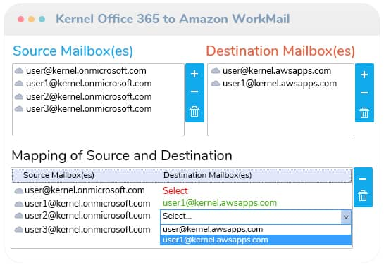 Add source & destination mailboxes and map