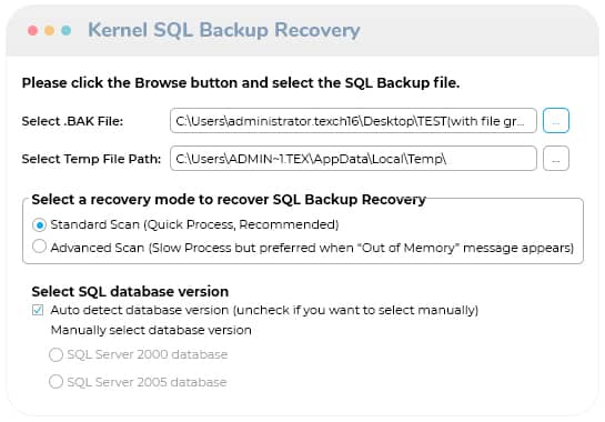 Add the corrupt SQL Backup file for recovery