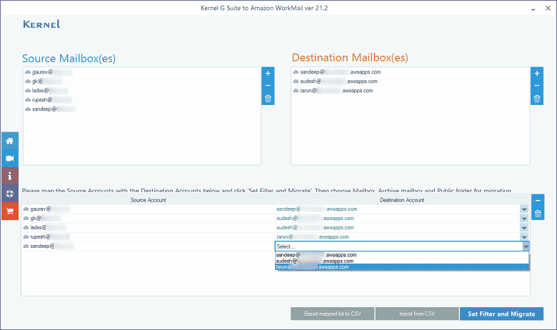 Map the source and destination accounts using the drop-down list