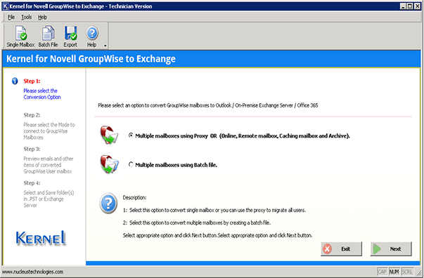 Welcome screen of the Office 365 Migrator for GroupWise with two migration options