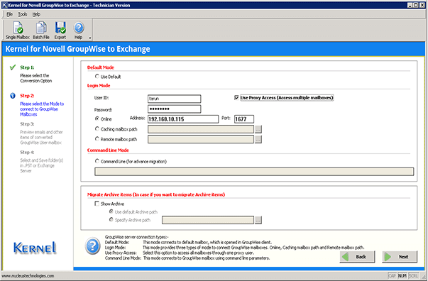 Connecting to Novell GroupWise server to start Office 365 migration