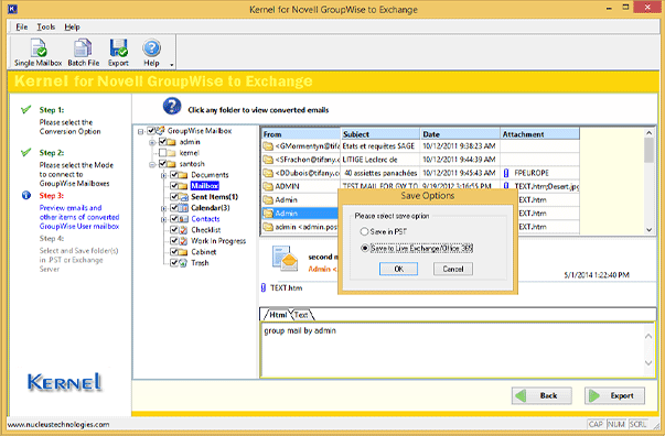 Options to save GroupWise mailboxes to Outlook PST or live Exchange/Office 365