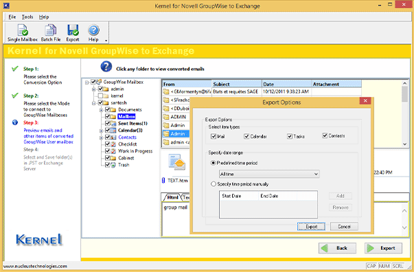 Applying filters to Novell GroupWise mailboxes before Office 365 migration