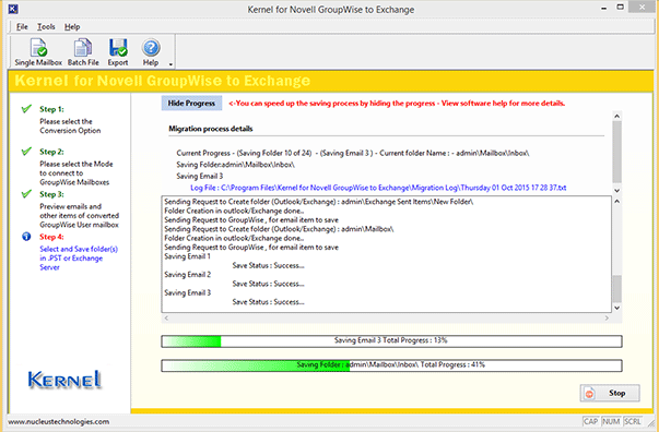 Novell GroupWise to Office 365 migration process in progress