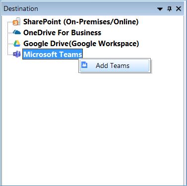 Choose Microsoft Teams at the destination