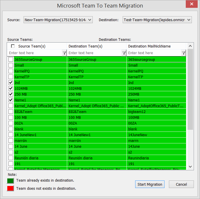 Map the source and destination team. Then click Start Migration