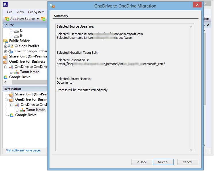 Confirming the migration summary before starting it.