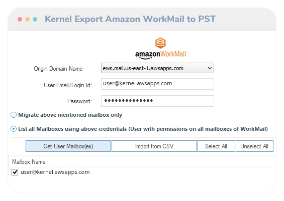 Kernel Export Amazon WorkMail to PST